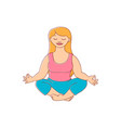 plump obese woman meditate vector image