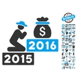 Pray For Money 2016 Flat Icon With Bonus vector image