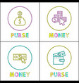 purses with money icons isolated on white backdrop vector image