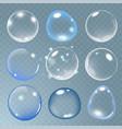 realistic soap bubble set on transparent vector image vector image