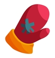 Red Santa mitten icon cartoon style vector image