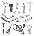 set barbershop tools instruments symbols