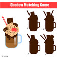 shadow matching game kids activity with milk vector image vector image