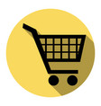 shopping cart sign flat black icon with vector image vector image
