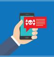 smartphone in danger red alert vector image vector image