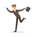 smiling successful businessman running with his vector image
