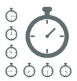 stopwatch icon timer icon grey isolated in differe vector image vector image
