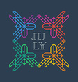 Summer Ethnic pattern with inscription July vector image