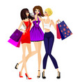 three girls shopping vector image vector image