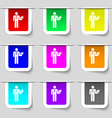 Waiter icon sign Set of multicolored modern labels vector image