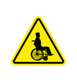 warning invalid sign caution wheelchair on road vector image vector image