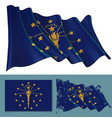 waving flag of the state of indiana vector image vector image