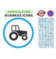 wheeled tractor rounded icon with set vector image