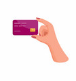 woman hand holding credit or debit card finance b vector image vector image