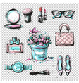 fashion sketch collection of women accessories vector image