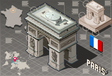 Isometric Infographic Arc de Triomphe in Paris - vector image
