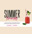 lemonade drink of pink soda water advertising vector image