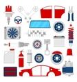 Car Parts Set Auto Service Repair Icons vector image