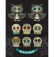 Collection of sugar skull cats in mexican style vector image