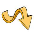 yellow wavy arrow icon icon cartoon vector image
