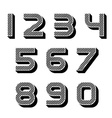 3D black striped numbers font vector image vector image