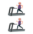 a fat man runs on a treadmill and loses weight vector image vector image