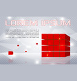 abstract colorful background with red cubes vector image