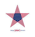 Abstract design element star with american flag vector image vector image