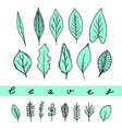 aqua leaves set vector image vector image