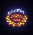 bakery products logo fresh bread loaf neon sign vector image