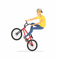 bmx rider - cartoon people character isolated vector image