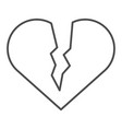 broken heart thin line icon sad love vector image vector image