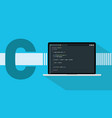c sharp programming language with laptop and code vector image vector image