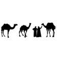 camel riders in black and white vector image vector image