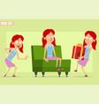 cartoon flat redhead girl character set vector image vector image