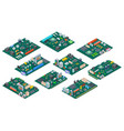 circuit board isometric electronic computer vector image vector image