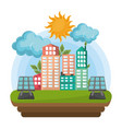 cityscape with solar panel vector image vector image