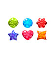 colorful jelly glossy figures woth bubbles of vector image vector image