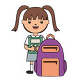 cute little student girl with calculator and vector image