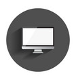 desktop computer flat icon realistic with long vector image