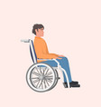 disabled man sitting in wheelchair disability vector image vector image