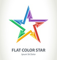 Flat color 3d star logo with arrows Colorful vector image