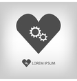 Grey heart with gear wheels vector image vector image