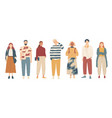 group young people in casual clothes vector image