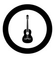 guitar black icon in circle isolated vector image