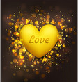 happy valentines day festive card with golden vector image