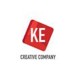 initial letter ke logo template design vector image vector image