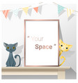 interior poster mock up with empty frame and cats vector image