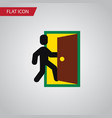 isolated open door flat icon evacuation vector image vector image