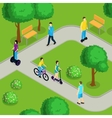 Isometric People Ride Composition vector image